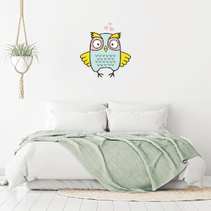 Owl With Hearts Wall Art Sticker