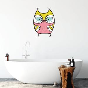 Pink Owl Wall Art Sticker
