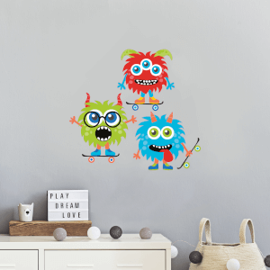 Variation Of Monsters On Skateboards Wall Art Sticker