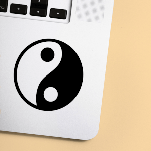 Ying Yang Symbol Laptop Sticker