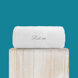 Rub Me Embroidered Hand Towel