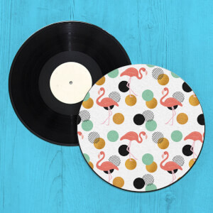 Flamingo Polka Dots Record Player Slip Mat