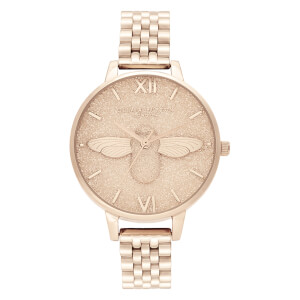 Olivia Burton Women's Glitter Dial Bracelet Watch - Pale Rose Gold
