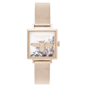 Olivia Burton Women's Enchanted Garden Square Dial Watch - Pale Rose Gold