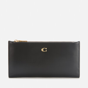 Coach Women's Smooth Leather Double Snap Wallet - Black