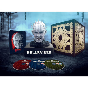 Pinhead Bust (27cm tall) & Hellraiser 1–3 - Zavvi Exclusive Steelbook
