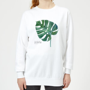 Swiss Cheese Plant Leaf Women's Sweatshirt - White