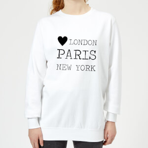 Love Heart London Paris New York Women's Sweatshirt - White