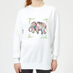 Indian Elephant With Leaf Border Women's Sweatshirt - White