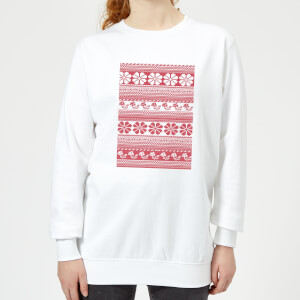 Floral Knitted Pattern Women's Sweatshirt - White