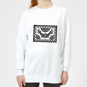 Black Cut Heart Pattern Flower Women's Sweatshirt - White