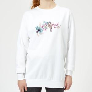Blue Tit On Floral Branch Women's Sweatshirt - White