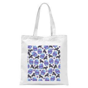 Night Time Geisha Scattered Pattern Tote Bag - White
