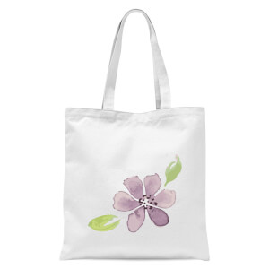 Purple Flower 2 Tote Bag - White