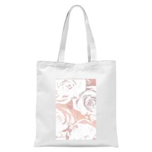 White Rose Print Tote Bag - White