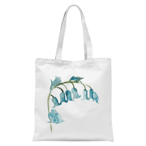 Blue Bells Flower Tote Bag - White