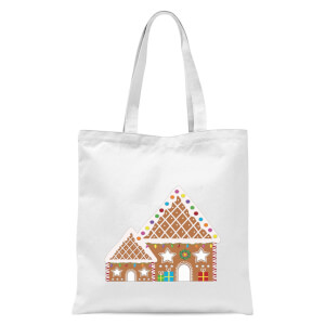 Gingerbread House Three Tote Bag - White