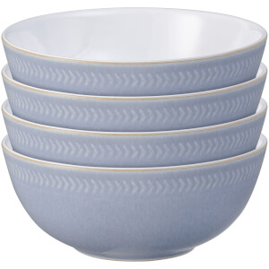Denby Natural Denim 4 Piece Textured Cereal Bowl Set