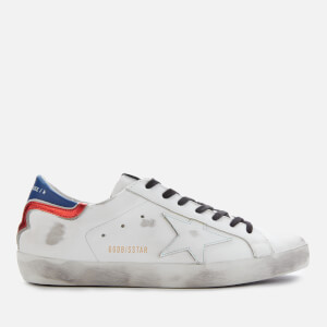 Golden Goose Deluxe Brand Men's Superstar Leather Trainers - White/Blue/Red/White Star