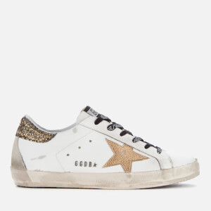 Golden Goose Deluxe Brand Women's Superstar Trainers - White/Cocco Glitter Gold/Gold Star