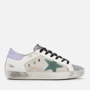 Golden Goose Deluxe Brand Women's Superstar Trainers - Silver Glitter/Cord Gum/Anise Star