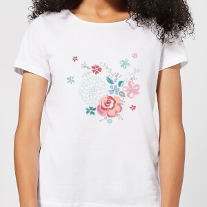 Candlelight Water Colour Flower Bouquet Women's T-Shirt - White