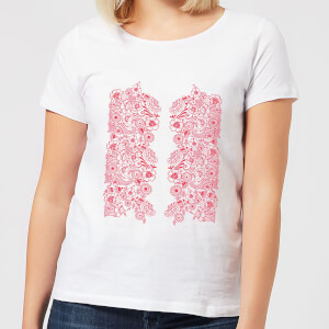 Candlelight Elegant Floral Pattern Women's T-Shirt - White