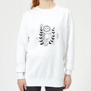 Candlelight Line Art Owl Women's Sweatshirt - White