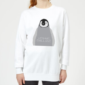 Candlelight Baby Penguin Lets Just Chill Out Women's Sweatshirt - White