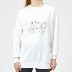 Candlelight Wild Flower Line Art Women's Sweatshirt - White