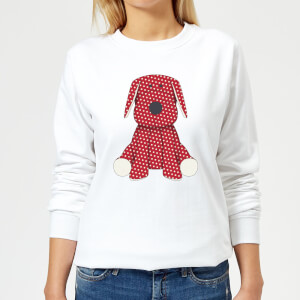 Candlelight Red Polka Dot Dog Teddy Women's Sweatshirt - White