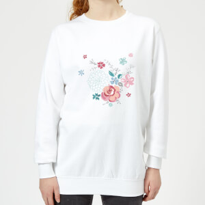 Candlelight Water Colour Flower Bouquet Women's Sweatshirt - White