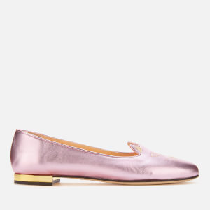 Charlotte Olympia Women's Metallic Kitty Flats - Pink