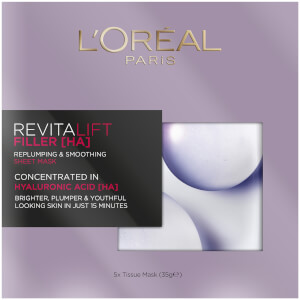 L'Oréal Paris Revitalift Filler [HA] Replumping and Smoothing Sheet Mask Multi-Pack 5 x 35g