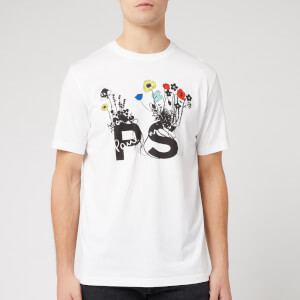 PS Paul Smith Men's Regular Fit Flowers T-Shirt - White