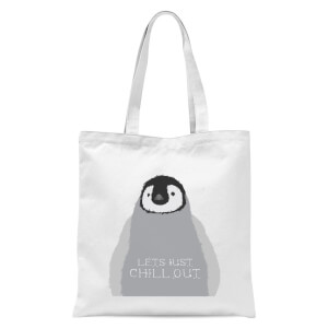 Baby Penguin Lets Just Chill Out Tote Bag - White