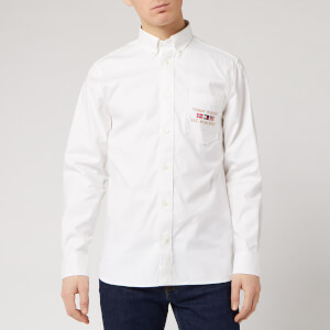 Tommy Hilfiger Men's Flex Motif Oxford Long Sleeved Shirt - White