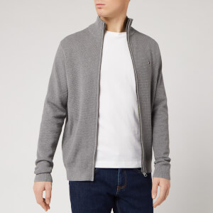 Tommy Hilfiger Men's Structured Cotton Zip Through - Silver Fog