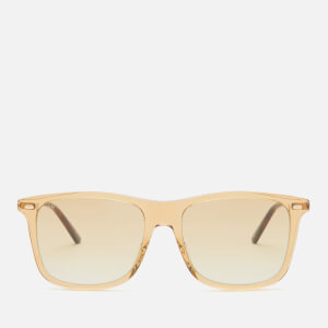 Gucci Men's Cylindrical Web Square Frame Sunglasses - Brown/Gold/Brown