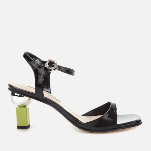 Yuul Yie Women's Sora Leather Barely There Heeled Sandals - Black/Lime