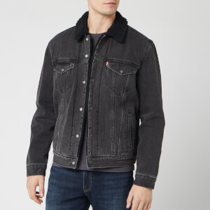 Levi's Men's Embossed Logo Sherpa Trucker Jacket - Black