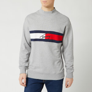 Tommy Jeans Men's Jacquard Flag Logo Sweatshirt - Light Grey Heather