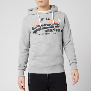 Superdry Men's Vintage Label Stripe Hoody - Grey Marl