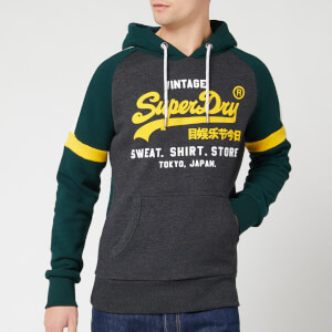 Superdry Men's Vintage Label Sweat Shirt Store Colourblock Hoody - Graphite Dark Marl