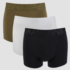 Heren 2 Pack Sports Boxer - Zwart/Kaki/Wit