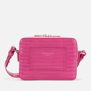 Aspinal of London Women's Deep Shine Small Croc Camera Bag - Penelope Pink