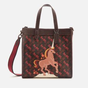 Coach 1941 Women's Coated Canvas Unicorn Print Medium Tote Bag - Black/Oxblood