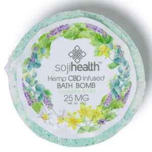 Soji Health Bath Bomb Hemp CBD Infused Eucalyptus & Peppermint 25mg