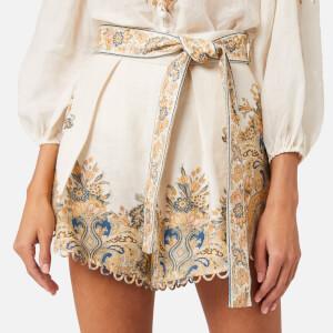 Zimmermann Women's Freja Paisley Shorts - Ivory Fleur Paisley