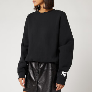 Alexander Wang Women's Dense Fleece Bubble Crew Neck Sweatshirt with Puff Paint Print - Black